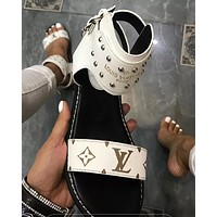 Louis Vuitton Slippers LV Shoes One word with flat bottom high boots White