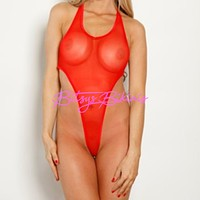 Monokini G-String - Red Mesh