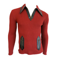 Vintage G. GUCCI ITALY 1970 Men's red wool zip neck sweater