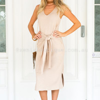 Love Is Blinded Midi Dress (Beige) | Xenia Boutique | Women's fashion for Less - Fast Shipping