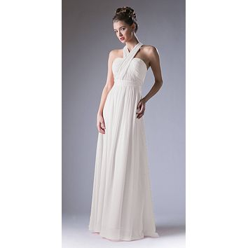 Convertible Long Evening Dress Ivory A Line Multiple Styles