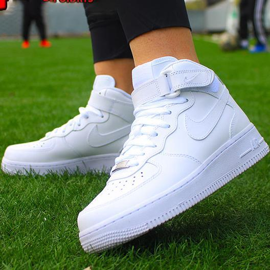 Image of NIKE AF1 Air Force One men and women pure white high-top casual sneakers Optional luminous