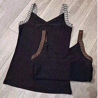 FENDI Summer Sexy Popular Women F Letter Sleeveless V Collar Backless Knit Thin Vest Top I13700-1