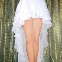 Ameynra Fashion High low SKIRT White Chiffon, with ruffle. Sizes XL, XXL