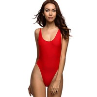 Backless Bodysuit high cut one piece Swimsuit