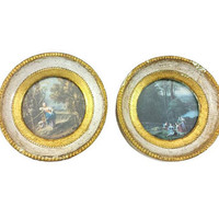 Pair Round Frames Gold Gilt Wood Florentine Art Prints Small Wall Gallery Collage Hangings Miniature Framed Set Made in Italy