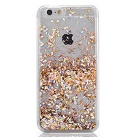 iPhone 6 Plus Case,Crazy Panda 3D Creative Liquid Glitter Design iPhone 6 Plus Liquid Quicksand Bling Adorable flowing Floating Moving Shine Glitter Case iPhone 6 Plus/6S Plus - Light gold diamonds