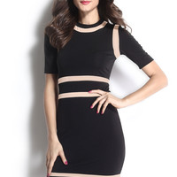 Black Round neck Bodycon Dress with Beige Patchwork