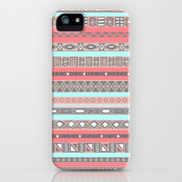 Peach Rose Baby Blue Aztec Tribal Native Pattern iPhone Case by RexLambo | Society6