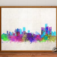 Detroit Skyline Watercolor Poster, Michigan Print, Cityscape, City Painting, States, Illustration Art Paint, Giclee Wall, Home Decor