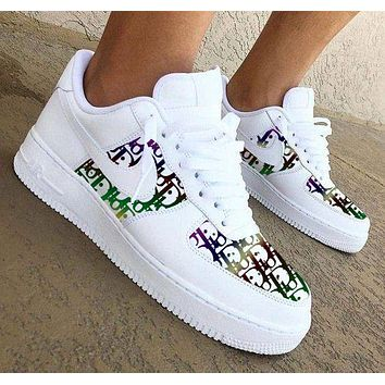 Nike Air Force 1 x Dior Print Contrast Shoes Women Men Trending Shoes White+Colorful Print