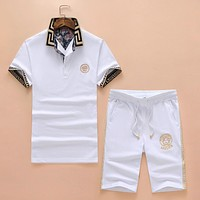 Versace Lapel Short Sleeve Cropped Pants Casual Sports Two-Piece Set F-A00FS-GJ White