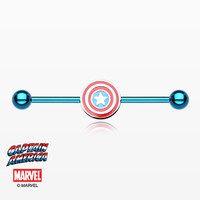 Captain America Blue Titanium PVD Industrial Barbell