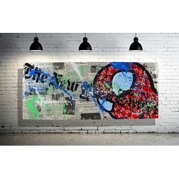 SPDY Comic Book Character Home Decor Painting & Collage x Acrylic Paint on Wood Wall Art w/ Epoxy Resin Finish