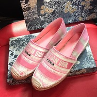 DIOR CD stripe stitching color canvas embroidered fisherman shoes ladies lazy shoes Pink