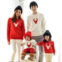 Christmas Holiday Matching Family Outfit red Long-Sleeve Tees