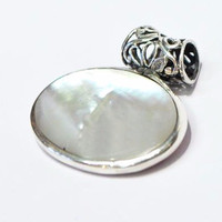 Double Sided Mother of Pearl and Silver Pendant