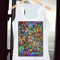 Tank Top,All Character Disney Stained glass White , Tank Top Men Women, Available Size : S,M,L,XL,XXL
