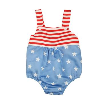 Newborn Infant Baby Girls Clothes Sleeveles Newborn Rompers Striped Harness Star Printed Jumpsuit Outfits Sunsuits Kids Clothes