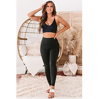 Pace Yourself High Rise Compression Leggings (Black)