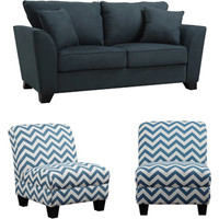 Walmart: Geneva Microfiber Sofa with Set of 2 Gina Zig Zag Armless Accent Chairs