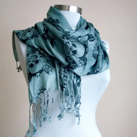 Men's and Women's Skull Scarf Grey and Black. Soft Cotton Grey Scarf. Skull Scarves.Unisex Scarf.