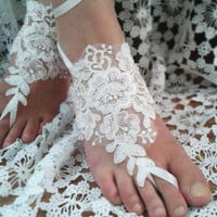 Bridal Barefoot Sandals,Ivory Barefoot Sandals, Bridal Foot Accessory, Bridal Jewelry, Beach Wedding Sandals, Lace Barefoot,Wedding Barefoot