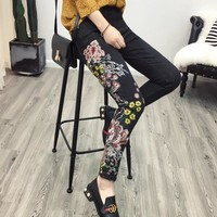 2017 Vintage Colorful Elastic Floral Chinese Dragon Embroidery Washed Denim Jeans Pockets Pants Casual Women Black Trousers