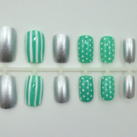"""Artificial Nails - """"Stripes & Spots"""" - Mint/Turquoise, White, Silver, Stripes and Dots, Hand Painted, Glue-on Fake Nails"""