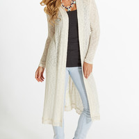 Ivory Lace Accent Long Cardigan