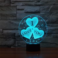 Magical Optical Illusion 3D LED Night Light USB Table Lamp Novelty Atmosphere Light with Touch Botton a Gift for Valentine's Day