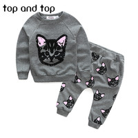 (actual photo)2016 hello kitty girls clothing sets kids clothes little cat baby girl and boy long sleeve cotton set
