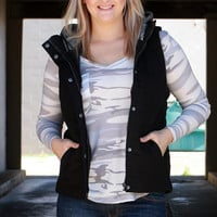 Out Of My League Quilted Vest With Hood ~ Black ~ Sizes 4-10