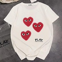 Play New fashion love heart letter eye print couple top t-shirt White