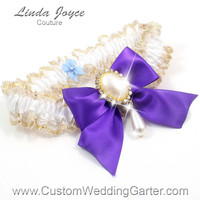 White and Purple WEDDING GARTER Gold Bridal Lace Garter 112 White 465 Eggplant Purple Prom Garter Plus Size & Queen Size Available too