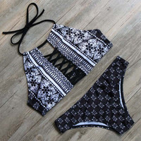 Sexy Ethnic Printed Bikini Set for Women
