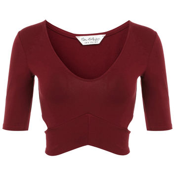 3/4 Sleeve Cut Out Crop - Clothing - New In - Miss Selfridge