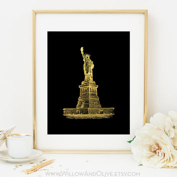 STATUE OF LIBERTY Faux Gold Foil Art Print