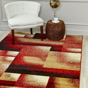 2036 Burgundy Contemporary Area Rugs