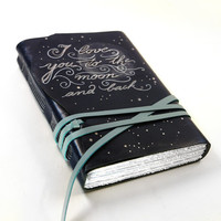 Blue Leather Journal , Notebook, Dark Blue Romantic Leather Diary - Love You to the Moon and Back