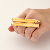 Gold and Ceramic Statement Fashion Ring - handmade ring, 14K gold statement cocktail ring - CERAMIC PENCILS - 2.6 inch