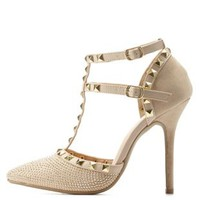 Gold Rhinestone Studded Strappy Pointed Toe Pumps by Charlotte Russe