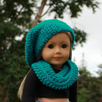 beret style crochet slouch hat with infinity scarf, teal blue, green 18 inch doll clothes American girl Maplelea