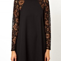 Cut Out Lace Long Sleeve Dress