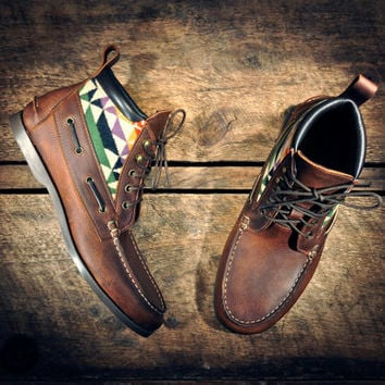 Handcrafted HIGHTOP Leather Boat Shoes - Oiled Tan Cowhide with Southwest Inspired Patterned Wool Details - MADE to ORDER
