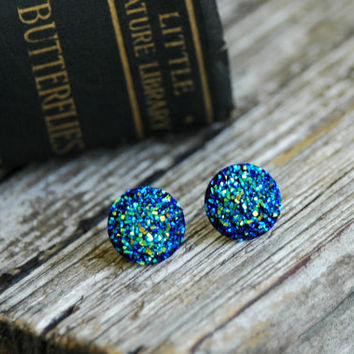 Blue Druzy Earrings . Druzy Studs . Blue Earrings . Druzy Jewelry . Acrylic Post Earrings . Surgical Steel Studs .Gift Ideas for Her