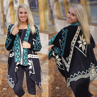 Easy Does It Cardi (Black / Teal) - Piace Boutique