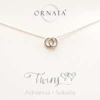 """Twins"" Personalized Sterling Silver Necklace 