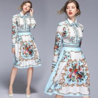 The latest fashionable retro-printed long waist-slim dress