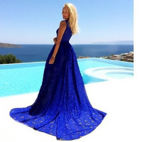 Lace Blue Prom Dress One Piece Dress [9344406148]